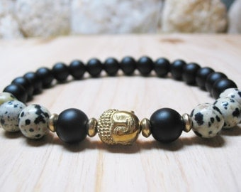 Buddha Bracelet Men Bracelet Black Onyx Bracelet Dalmatian Jasper Bracelet Healing Bracelet Power Bracelet Spiritual Bracelet Root Chakra