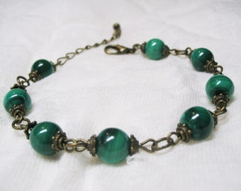 Malachite Bracelet Vintage Bracelet Calming Bracelet Balance Bracelet Gemstone Bracelet Romantic Bracelet Healing Crystal 8mm Malachite Bead