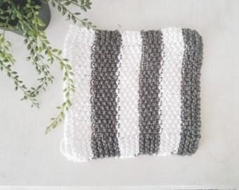 handknit dishcloth cotton slate grey and white stripes