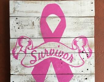 Breast Cancer Survivor Pallet Sign