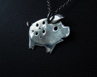Sterling Silver Piggie Necklace