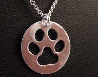 Paw Print Puppy Love Sterling Silver Handmade Pendant Necklace