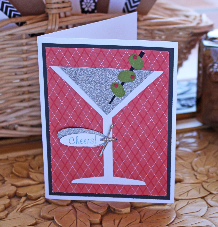Martini, Glass, Celebration, Birthday, Card, Handmade