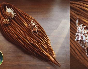 Set of wool dreads. Natural color. Light brown.