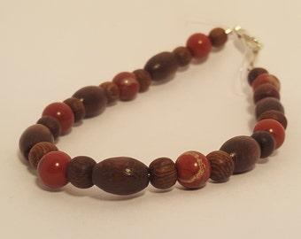 Red Jasper and Wood Bead Bracelets