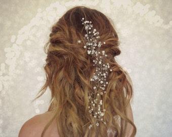 Wedding Hair vine, Baby's breath, boho bridal crown, Wedding Hair piece, Bridal head piece, flower crown, floral hair piece