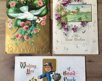 1911-1920 Best Wishes Postcards- Set of 3
