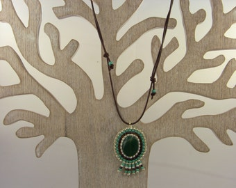 """Boho pendant/necklace """"Verde"""" with green agate"""