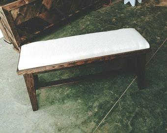 Dark Brown Reclaimed Wood Bedside/Hall Bench