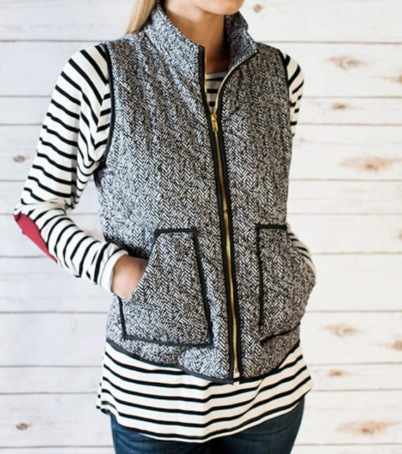 Herringbone Zip-Front Vest Outwear Black White