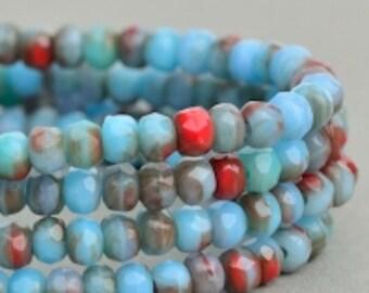 Czech Glass Beads - Czech Glass Rondelles - Turquoise Red Mix Opaque Beads - 3x2mm - 50 Beads
