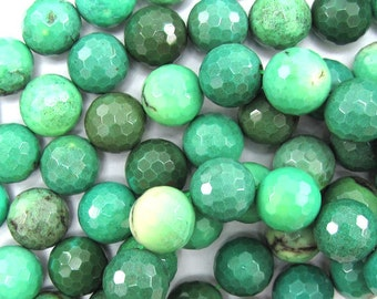 "14mm faceted green chrysoprase round beads 7.5"" strand 33227"