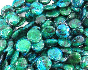 "16mm blue green chrysocolla coin beads 15.5"" strand"