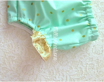 Size 1 Glitz Mint Nappy Cover Bloomers