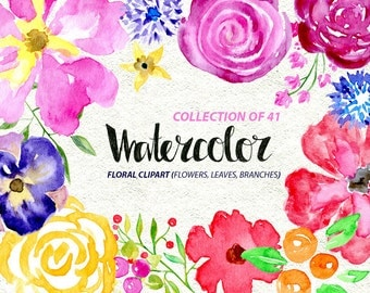 Watercolor flower clipart: 41 bright Branches, Flowers and Leaves, Aquarelle Digital Clip Art, watercolour Free Commercial Use PNG set