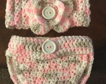 Crocheted newborn matching headband and diaper cover
