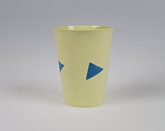 Geo Cup - Yellow Porcelain with Blue Triangles