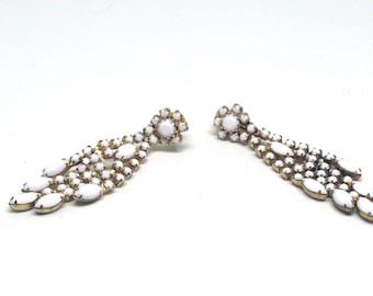 Heirloom High End MILK Glass Rhinestone Gold Tone Vintage Estate Clip Earrings