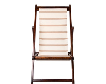 TIPI Interiors Beige and White Deck Chair