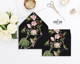 Envelope Liner , Floral and Hummingbird Envelope Liner , DIY Envelope Liner , 6 Sizes Envelope Liner