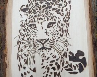 Woodburned Jaguar