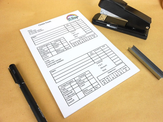 2 a page order form, custom order form, 50 page order pad, custom stationery, custom order book, logo stationery, alternative to order book