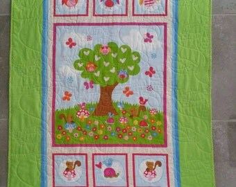 Baby owl quilt, Owl and Friends quilt, Childrens quilt/blanket, Animal quilt