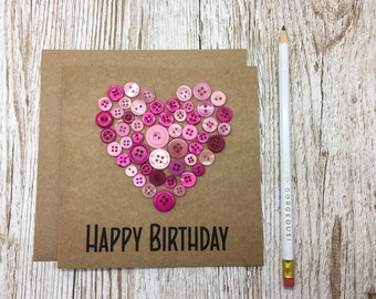 Birthday Card with Pink buttons - Happy Birthday Card with Buttons - Kraft Birthday Card with PInk Buttons - Button Heart Birtday Card