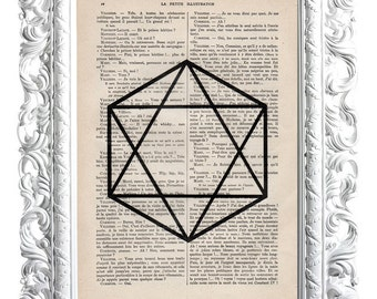 Star / Hexagon. Print on French publication of illustration. 28x19cm.