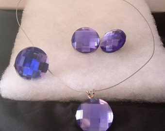 Simply Elegant Purple Crystal: Necklace and Earrings