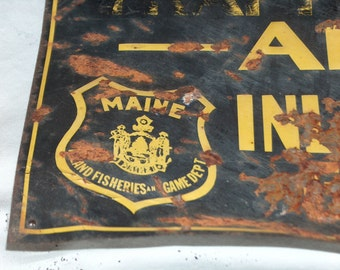 1969 Maine State Game Sanctuary Metal Sign