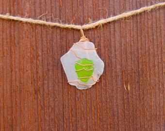 Green and White/Clear Sea Glass Pendant
