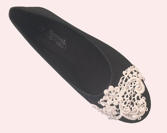 French Knot Lace Bridal / Bridesmaid / Dress Ballet Flats Wedding Shoes - Size 8