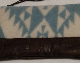 Pendleton Wool and Leather Zippered Pouch