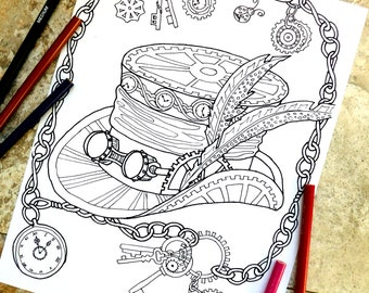 Steampunk Coloring Page Pages Top Hat Mechanical