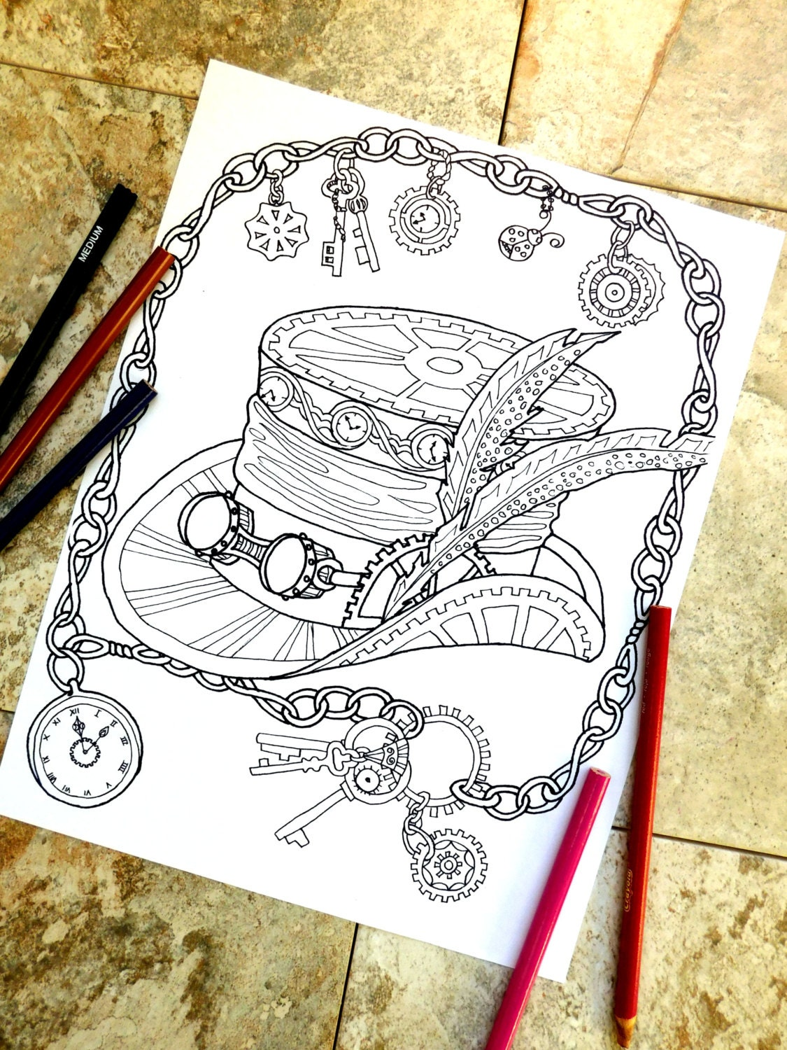 steampunk coloring page coloring pages top hat coloring