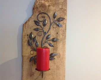Reclaimed barnwood candle holder