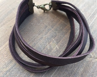 Handmade Leather 4-Strand Bracelet - Chocolate Brown