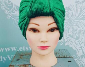 Handmade Vintage Retro Turban in Emerald Crushed Velvet