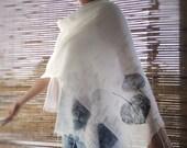 Indigo Cotton Silk Shawl - Large Botanical Print. Eco print shawl, botanical dye, silk cotton, indigo, summer scarf, womens scarves, mbpblue
