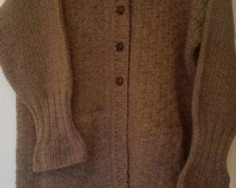 Hand knitted woolenhooded jacket/cardigan, size 20 to 24, Brown, Handmade in Ireland
