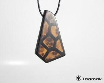 Necklace pendant ebony inlays Loupe de Thuya-CollierH/F-Wood precious-made hand-Piece unique-jewelry Taamak