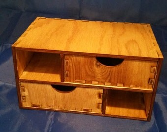 Two Tier Wooden Desktop Storage/Organization Unit With Two Drawers