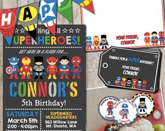 Superhero birthday PARTY PACKAGE personalized for your party - digital / printable DIY superhero invitation, card, tag, toppers, & banner