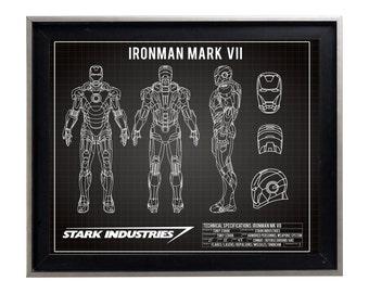IronMan Mark VII 7 Blueprint Poster Print Matte Iron Man Schematic Diagram