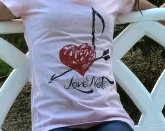 Tee.  Womens. Love. Note. Graphic. Fancy.
