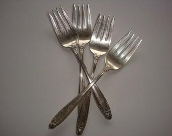 Set of 4 International Sterling Silver Prelude Pattern Salad Forks