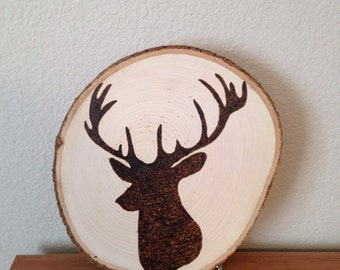 Wood burning art: deer head, deer bust