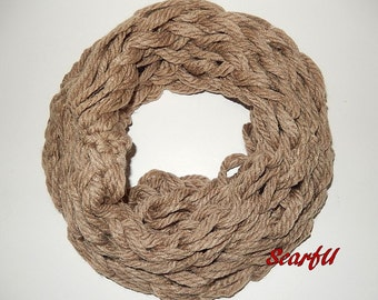 Chunky Rope Yarn Knit Tube Scarf Taupe