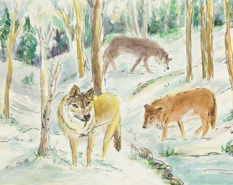 ORIGINAL painting, watercolor, signed, wolves, winter, water, wooded, wildlife, forest, nature, gift art, 18x24/mounted 22x28